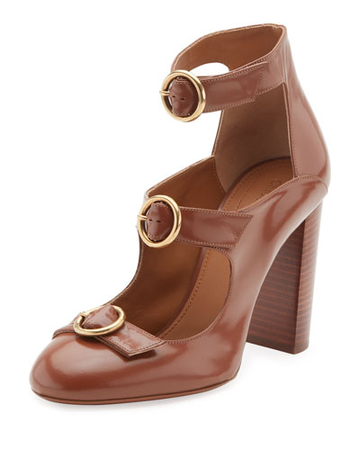 Buckle-Front Leather Pump, Ochre Delight