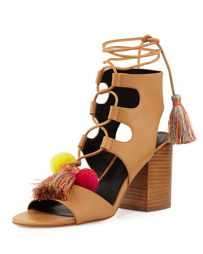 Calissa Pompom Leather Sandal, Beige