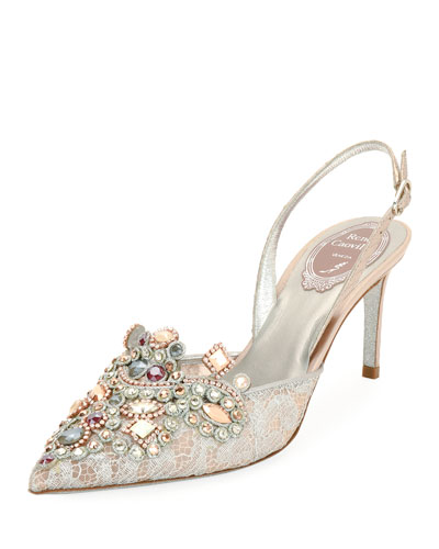 Crystal-Beaded Lace/Snake Halter Pump, Pink