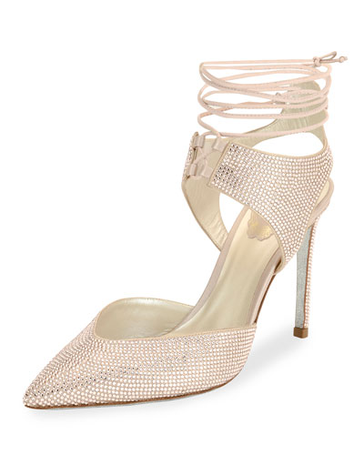 Crystal Beaded Satin Ankle-Tie Pump, Beige