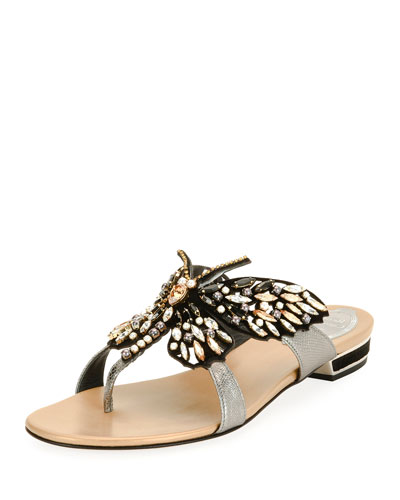 Butterfly Embellished Flat Thong Sandal, Black