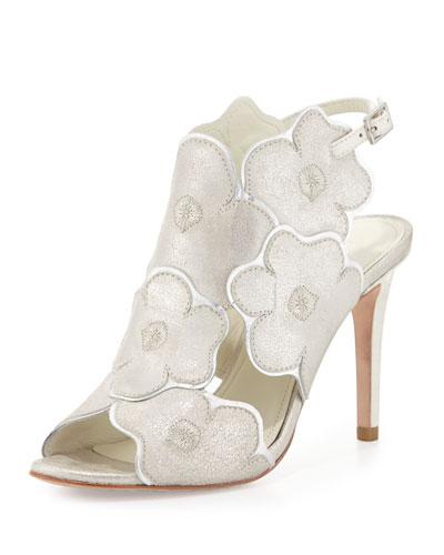 Alena Flower Slingback Sandal, Silver