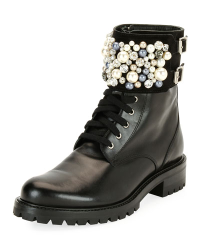 Pearlescent Embellished Combat Boot, Black