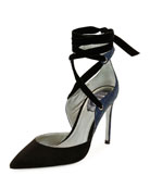 Two-Tone Crystal-Back Ankle-Wrap Pump, Black/Blue