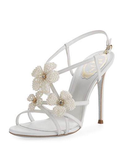 Snakeskin Beaded High Sandal