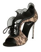 Lace Beaded Ruffle Sandal, Black
