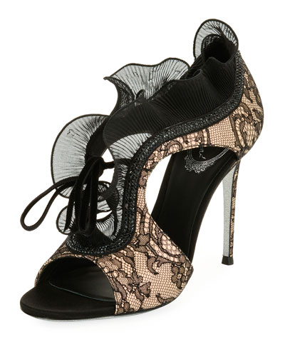 Lace Beaded Ruffle Sandal, Black