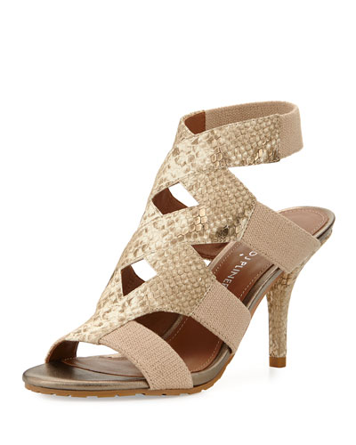 Gwen Stretch Ankle Sandal, Bronze