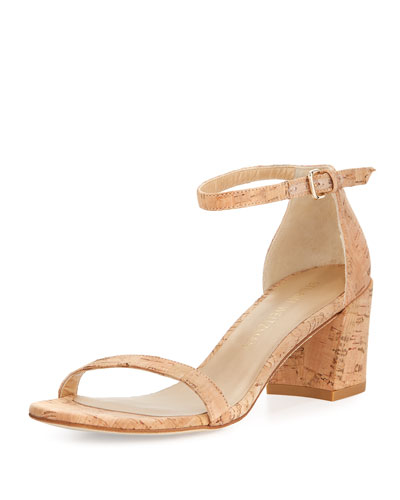 Simple Cork Low City Sandal, Neutral