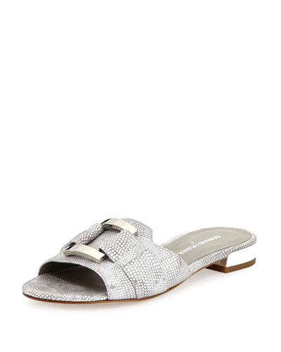 Falta Suede Buckle Slide Sandal, Silver