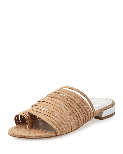 Frea Strappy Flat Slide Sandal, Silver Cork