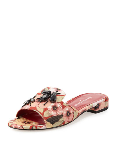 Fairy Floral Rhinestone Flat Slide Sandal, Orange/Red