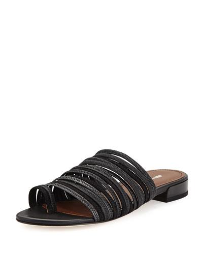 Frea Strappy Flat Slide Sandal, Black