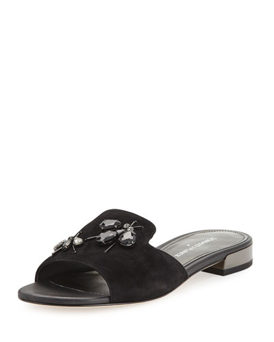 Fairy Suede Flat Sandal with Rhinestones, Black