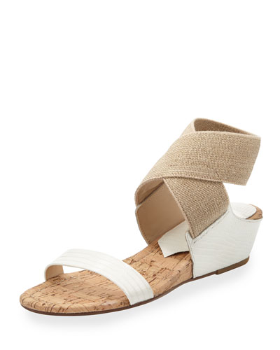 Eeva Crisscross Stretch Wedge Sandal