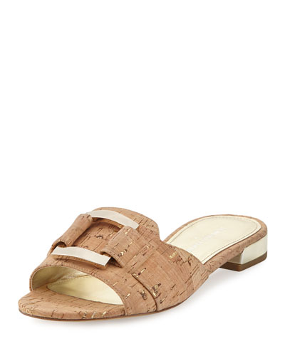 Falta Cork Buckle Slide Sandal, Neutral