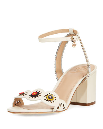 Marguerite Perforated Low-Heel Sandal, Ivory
