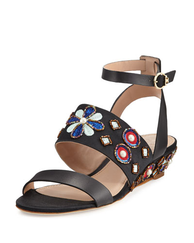 Estella Beaded Demi-Wedge Sandal, Black