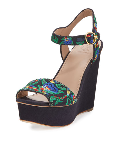 Sonoma Embroidered 120mm Wedge Sandal, Tory Navy/Multi/Green