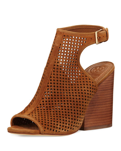 Jesse Perforated Open-Toe Bootie, Tan