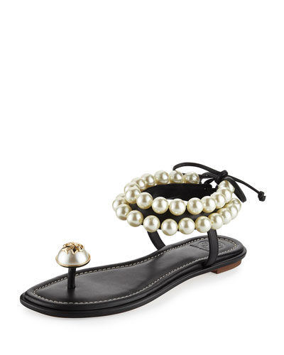Melody Pearly Ankle-Wrap Flat Sandal, Black