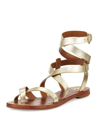 Patos Crisscross Flat Gladiator Sandal, Gold