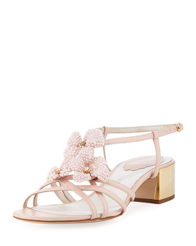 Beaded Flower Chunky Sandal, Pink