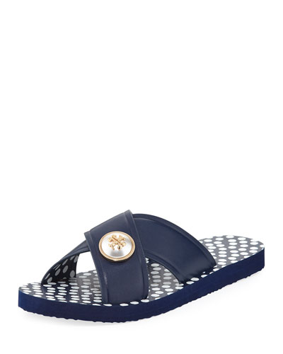 Melody Polka-Dot Flat Slide Sandal, White/Blue
