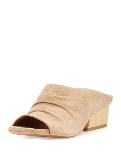 Oahu Suede Low-Heel Mule Sandal, Nude