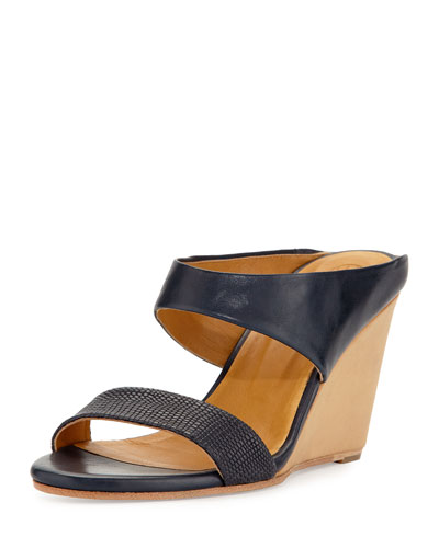 Julian Wedge Slide Sandal, Blue