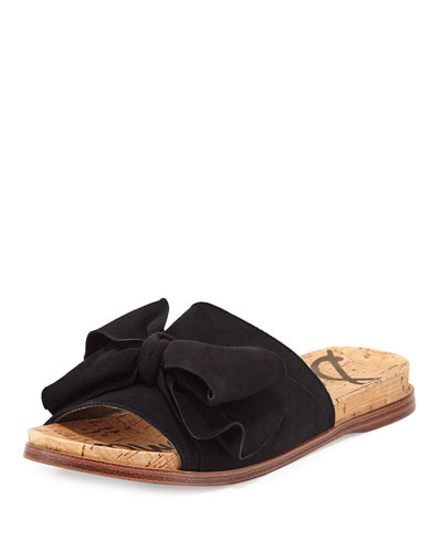 Henna Bow-Top Suede Flat Sandal, Black