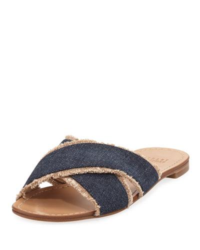 Edgedout Crisscross Fringe Slide Sandal