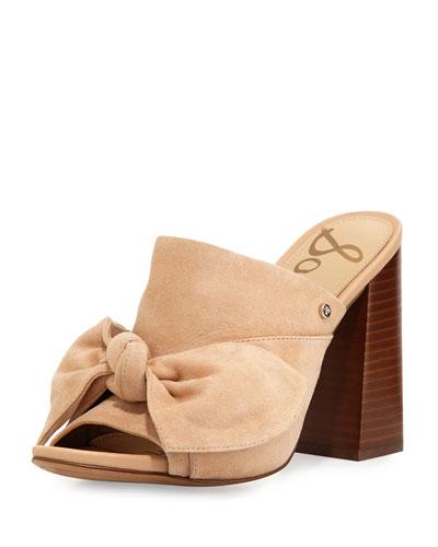 Yumi Suede Bow-Top Mule Sandal, Neutral