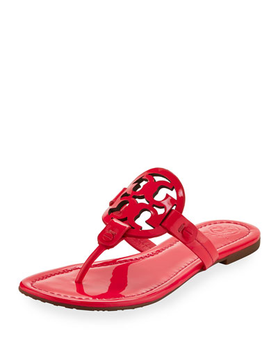 Miller Medallion Leather Flat Sandal, Fuchsia