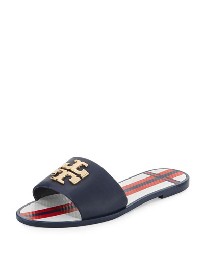Logo Jelly Flat Slide Sandal, Navy