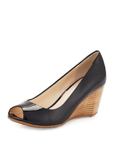 Sadie Grand Patent Leather Wedge Pump, Black