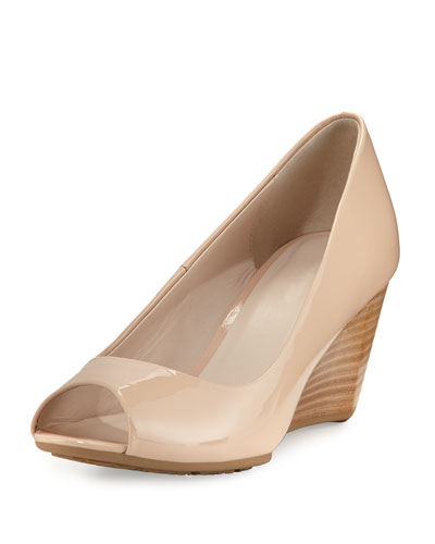 Sadie Grand Patent Leather Wedge Pump, Nude