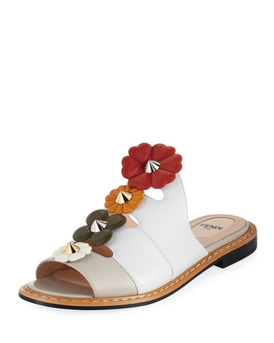 Peaked Flowerland Leather Mule Flat