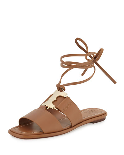Gemini Ankle-Wrap Flat Link Sandal, Tan