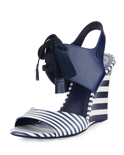 Maritime Striped Wedge Sandal, Blue/White