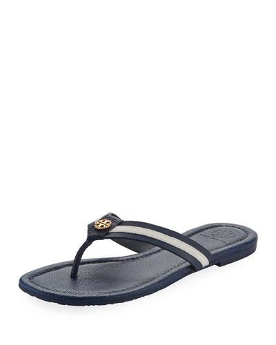 Maritime Striped Flat Thong Sandal, White/Blue