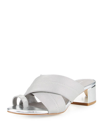 Toto Toe Ring Low-Heel Sandal, Silver