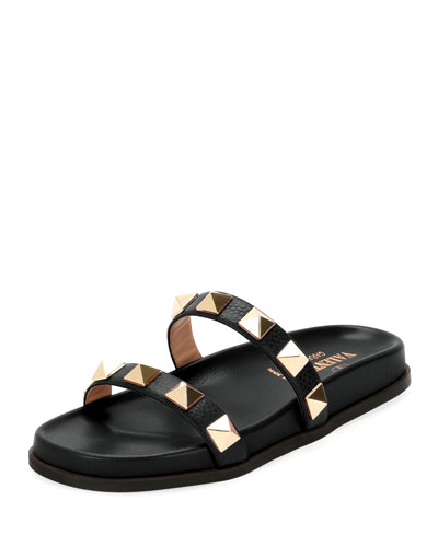 Rockstud Flat Leather Slide Sandal