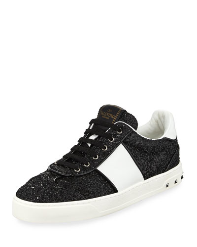 Glitter Strap Lace-Up Sneaker