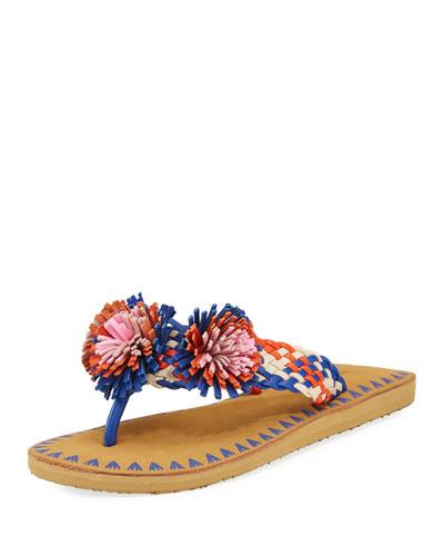 idette pompom woven flat sandal, blue