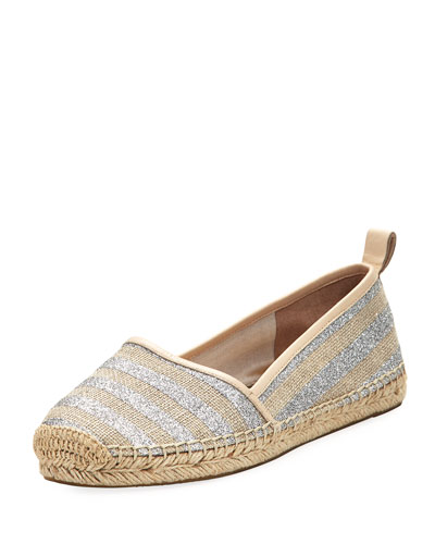 lilliad slip-on striped espadrille flat, silver