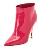Twist-Heel Patent Ankle Bootie, Fuchsia