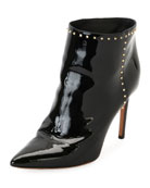 Studded Patent Ankle Boot, Black