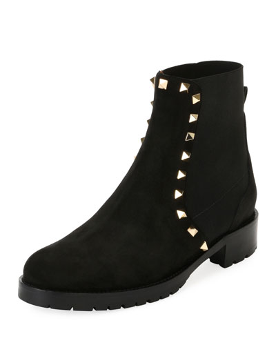Suede Studded Combat Ankle Boot, Black