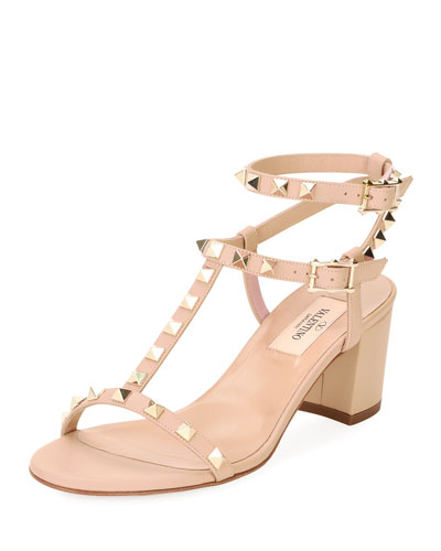 Rockstud Leather Low-Heel Sandal, Nude